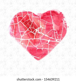 Broken heart watercolor image