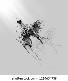 broken heart woman illustration