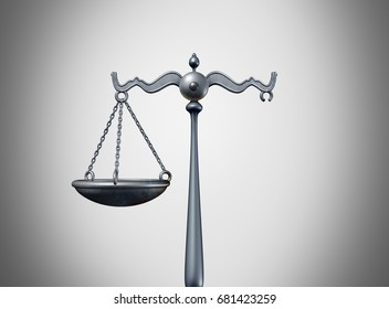 Broken law legal problem and justice system trouble concept as a scale of justice missing a piece as a metaphor for laws or regulation and political legislation partisanship as a 3D illustration.
