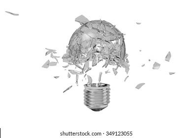A broken light bulb moment, 3D rendering.