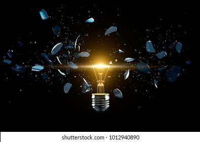 Broken light bulb on a black background - 3D Rendering