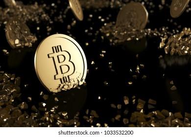 The broken medal bitcoin on black background. digital finance concept.