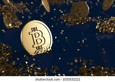 The broken medal bitcoin on blue background. digital finance concept.