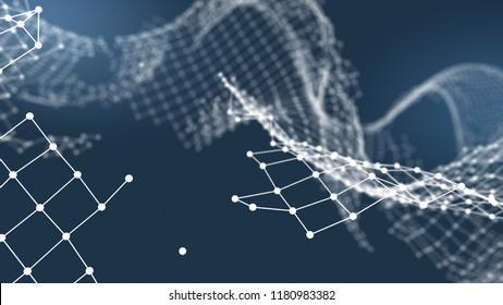 Broken network connection. Technology block chain concept. 3D Rendering.