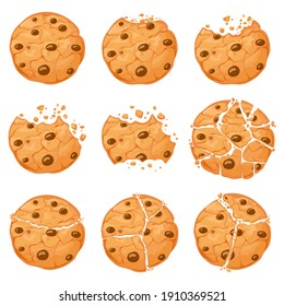 Broken oatmeal cookies. Cartoon bitten choco chip cookie with crumbs. Homemade chocolate round shaped crunch cookies. Sweet snack  set. Illustration sweet tasty bakery, fresh delicious crunchy