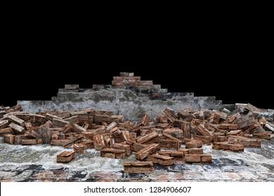 Broken Old Grunge Dirty Brick Wall. 3D Rendering