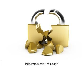 Broken padlock.  Image generated in 3D application. High resolution image.