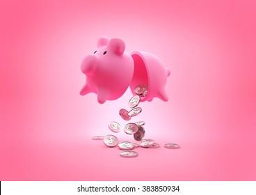 A broken piggy bank dropping coins onto the floor. 3D Illustration.