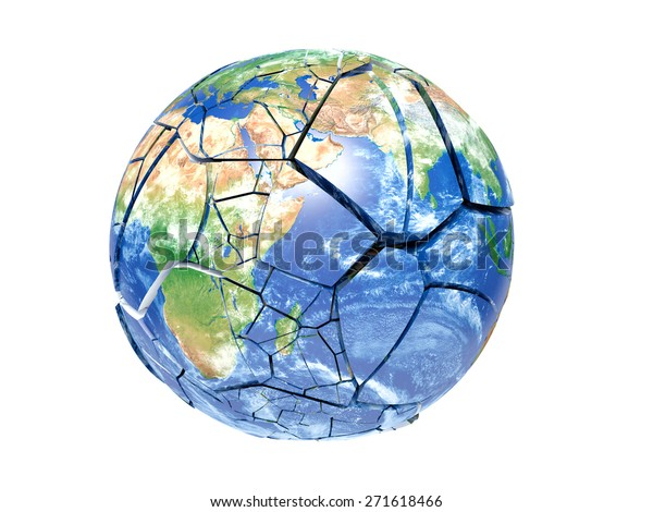 broken planet earth on a white background