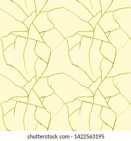 Broken pottery with gold crinkles, gold cracks on beige seamless pattern - kintsugi concept