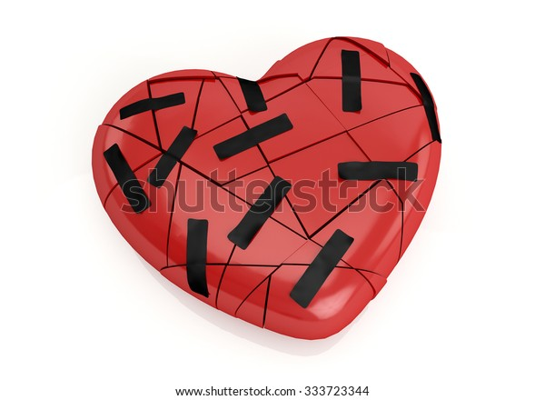 Broken red heart with plaster isolated on white background