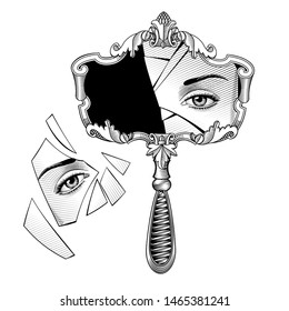 Broken retro mirror with a decorative frame and handle and eye reflection in the shards. Vintage engraving stylized drawing