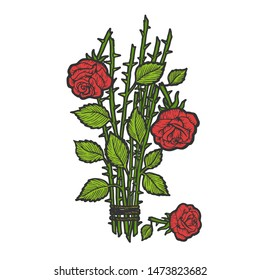 Broken roses bouquet flower color sketch engraving raster illustration. Scratch board style imitation. Black and white hand drawn image.