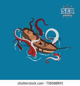Broken sailer with kraken on a blue background. Sailboat in isometric style. 3d illustration of ancient ship. Pirate game.