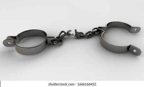 Broken shackles isolated on white background. 3D-rendering.