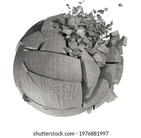 Broken shape and stone or cement ball.3d rendering broken cracked ball.
