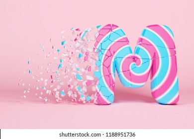 Broken shattered alphabet letter M uppercase. Crushed christmas font made of pink and blue striped lollipop. 3D render. Tasty confection from delicious lollypop caramel cracked debris.