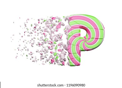 Broken shattered alphabet letter P. Crushed font made of pink and green striped lollipop. 3D render isolated on white background. Tasty confection from delicious lollypop caramel cracked debris.