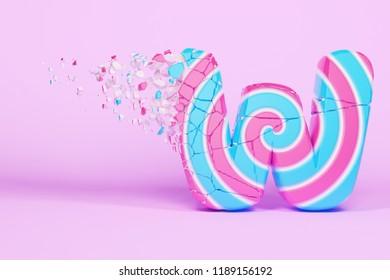 Broken shattered alphabet letter W uppercase. Crushed christmas font made of pink and blue striped lollipop. 3D render. Tasty confection from delicious lollypop caramel cracked debris.