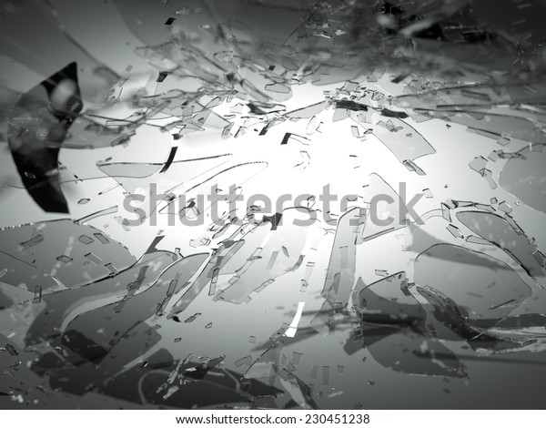Broken or Shattered glass on grey with shallow DOF. Large resolution