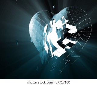 Broken shattered heart lost love glowing abstract illustration