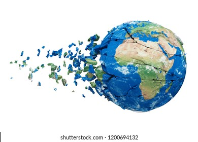 Broken shattered planet earth globe isolated on white background. Blue and green realistic world with particles and debris. Damaged destroyed crashed world globe. 3d render illustration with map NASA.