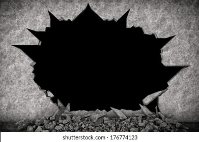 Broken Stone Wall on a black background