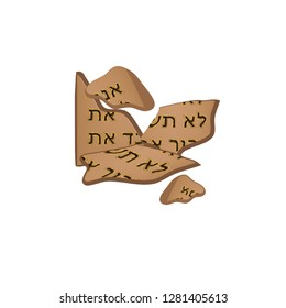 Broken tables of the Covenant. Tablets of Moses. 10 commandments of the bible in Hebrew. Torah. illustration on isolated background.