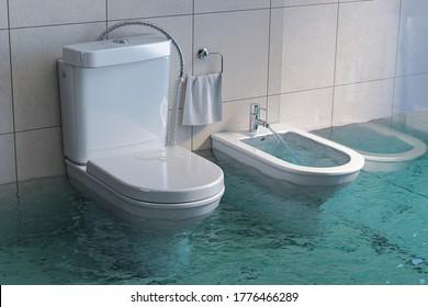 Broken toilet and bidet overflowing. 3d illustration