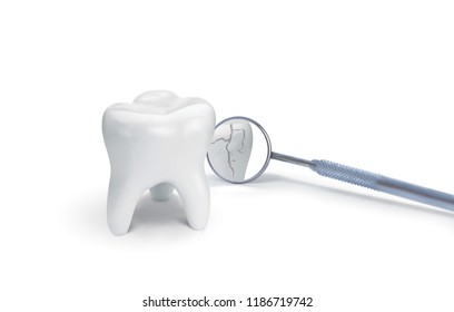 Broken tooth with dental mirror on white. Creative idea. 3D illustration, 3D rendering