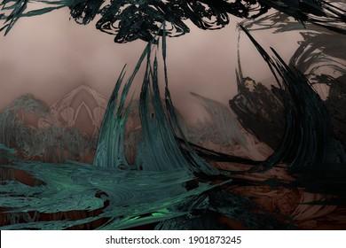 Broken trees on an unreal alien planet. 3d fractal graphic, part of a huge fractal, calculated with Mandelbulp 3D program