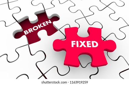 Broken Vs Fixed Problem Solving Fixing Puzzle 3d Illustration