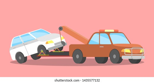 Broken white car on the tow truck. Roadside assistance service. Woman calling to the repair service. Flat illustration