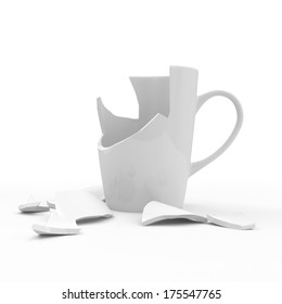 Broken White Cup isolated on white background