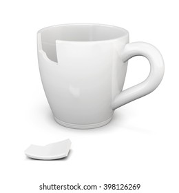 Broken white cup isolated on white background. 3d rendering.