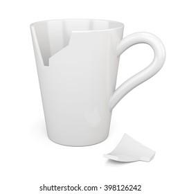 Broken white mug isolated on white background. 3d rendering.
