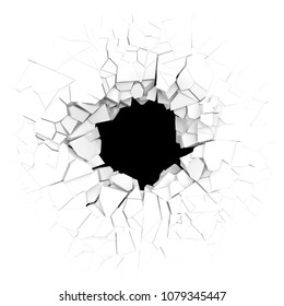 Broken white wall with a hole in the center. 3d illustration.