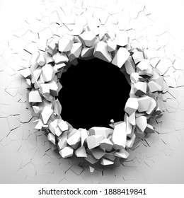 Broken white wall with a hole in the center. Cracked surface. 3d render illustration