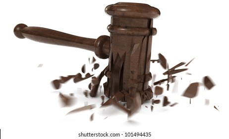 broken wooden hammer, used by judges or on auctions