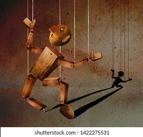 Broken wooden marionette against the background of plaster wall