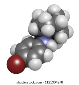 Bromantane asthenia drug molecule. Also used in sports doping. 3D rendering. Atoms are represented as spheres with conventional color coding: hydrogen (white), etc