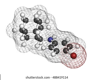 Bromantane asthenia drug molecule. Also used in sports doping. 3D rendering. Atoms are represented as spheres with conventional color coding: hydrogen (white), carbon (grey), bromine (brown), etc