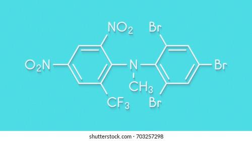 Bromethalin rodenticide molecule (rat poison). Skeletal formula.