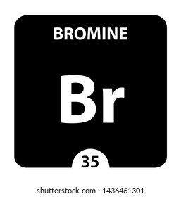 Bromine Br chemical element. Bromine Sign with atomic number. Chemical 35 element of periodic table. Periodic Table of the Elements with atomic number, weight and Bromine symbol. Laboratory and