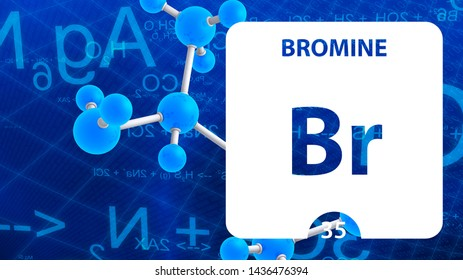 Bromine Br, chemical element sign. 3D rendering isolated on white background. Bromine chemical 35 element for science experiments in classroom science camp