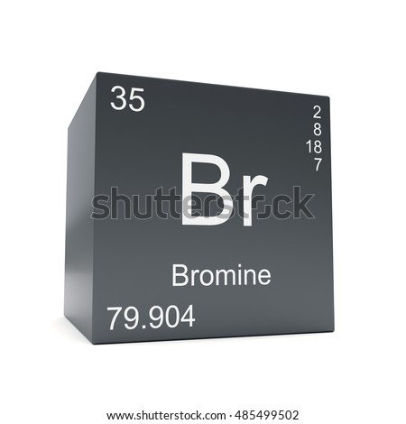 Bromine Chemical Element Symbol Periodic Table Stock Illustration