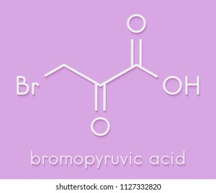 Bromopyruvic acid (3-bromopyruvic acid, 3-bromopyruvate) controversial cancer drug molecule. Investigational oncology drug, currently used without supporting clinical trial data. Skeletal formula.