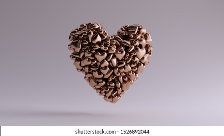 Bronze 3d Heart Icon Made out of lots of Smaller Hearts Offset View 3d illustration 3d render