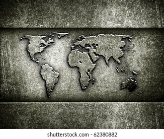 bronze background with world map