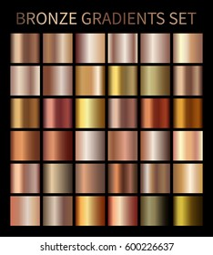 Bronze gold gradients. Collection of beige gradient illustrations for backgrounds, cover, frame, ribbon, banner, coin, label, flyer, card, poster etc.